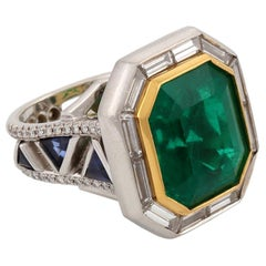 14.68 Carat Emerald Dreams Ring White Diamonds Blue Sapphire John Landrum Bryant