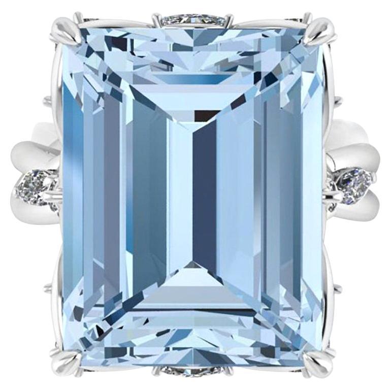 14.69 Carat Emerald Cut Aquamarine Platinum Cocktail Ring