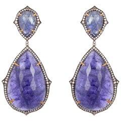 146.9 Carat Tanzanite Diamond Earrings