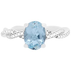 1.47 Carat Aquamarine and Diamond Engagement Ring