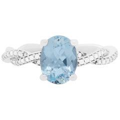 1.47 Carat Aquamarine and Diamond Ring
