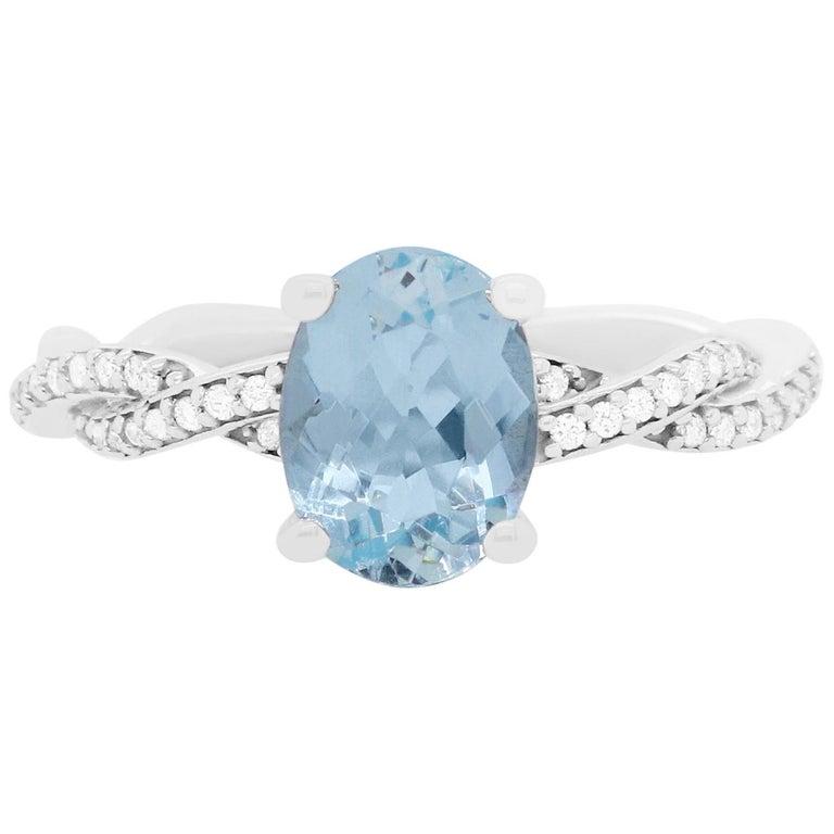 1.47 Carat Aquamarine and Diamond Ring For Sale