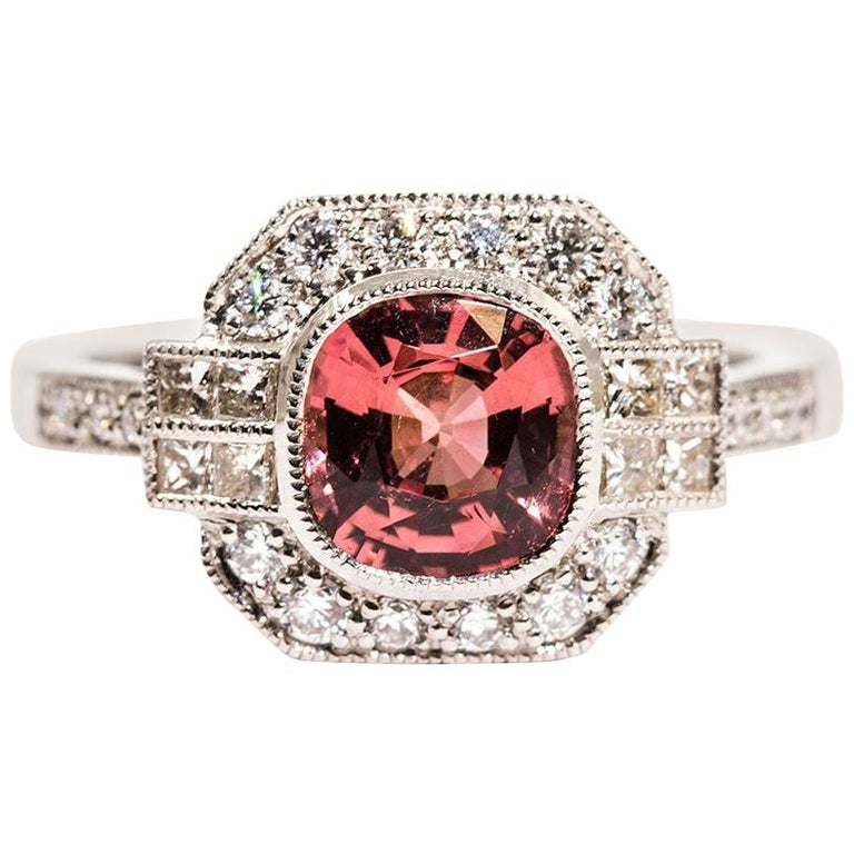 1.47 Carat Cushion Cut Spinel and 0.52 Carat of Diamonds Platinum Ring For Sale