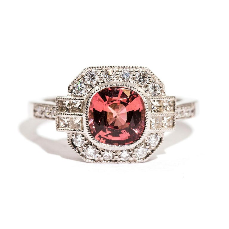 1.47 Carat Cushion Cut Spinel and 0.52 Carat of Diamonds Platinum Ring For Sale 7