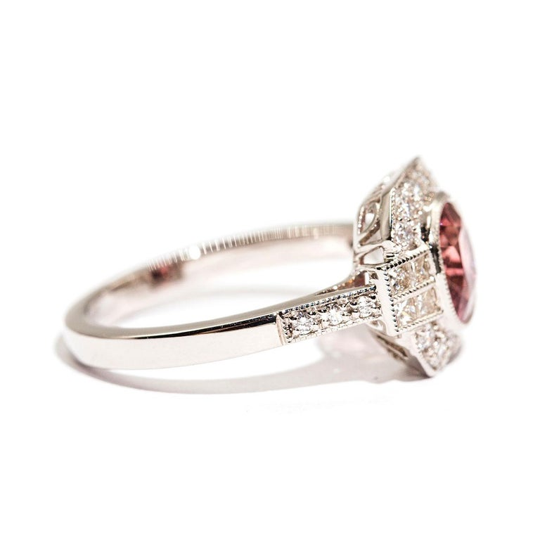 Contemporary 1.47 Carat Cushion Cut Spinel and 0.52 Carat of Diamonds Platinum Ring For Sale