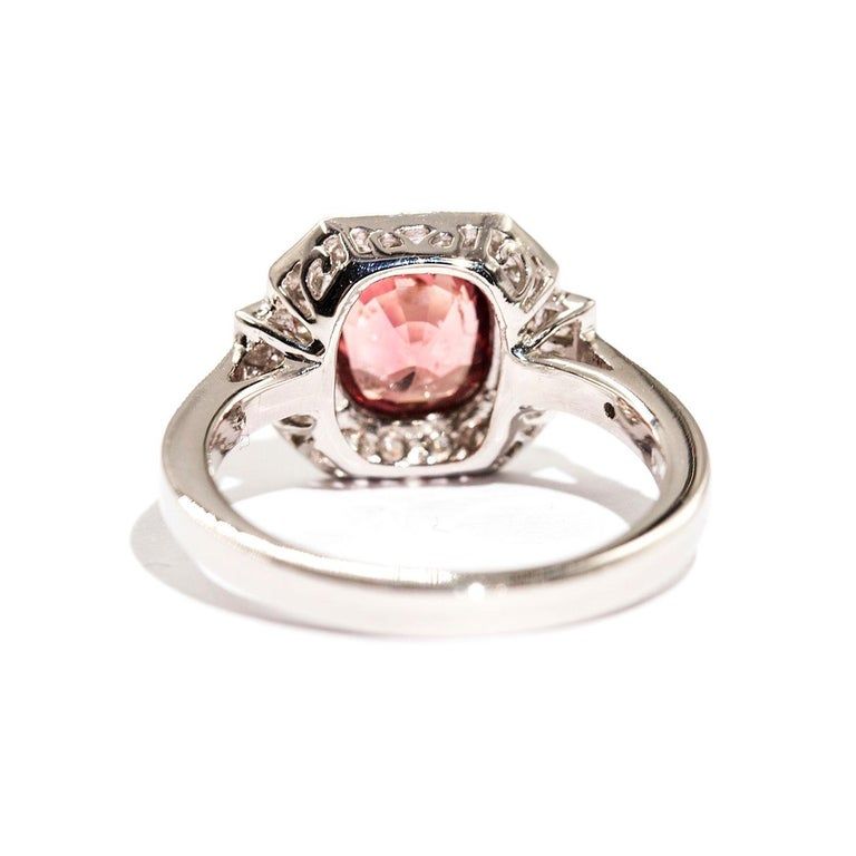 1.47 Carat Cushion Cut Spinel and 0.52 Carat of Diamonds Platinum Ring In New Condition For Sale In Hamilton, AU