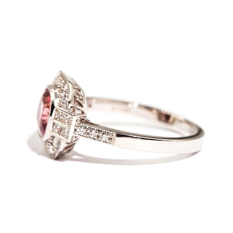 Women's 1.47 Carat Cushion Cut Spinel and 0.52 Carat of Diamonds Platinum Ring For Sale
