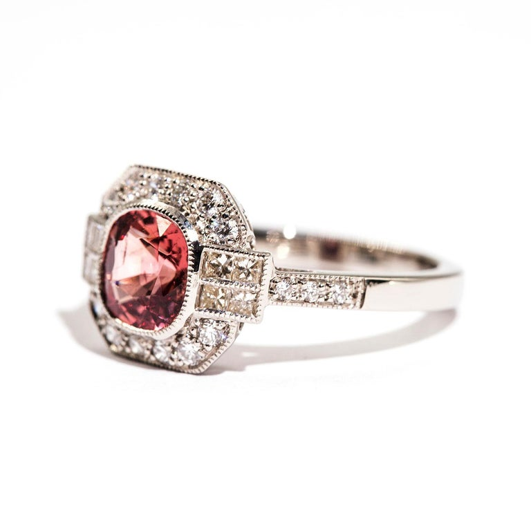 1.47 Carat Cushion Cut Spinel and 0.52 Carat of Diamonds Platinum Ring For Sale 1
