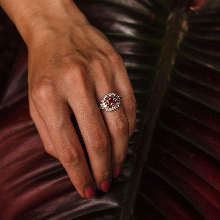 1.47 Carat Cushion Cut Spinel and 0.52 Carat of Diamonds Platinum Ring For Sale 2