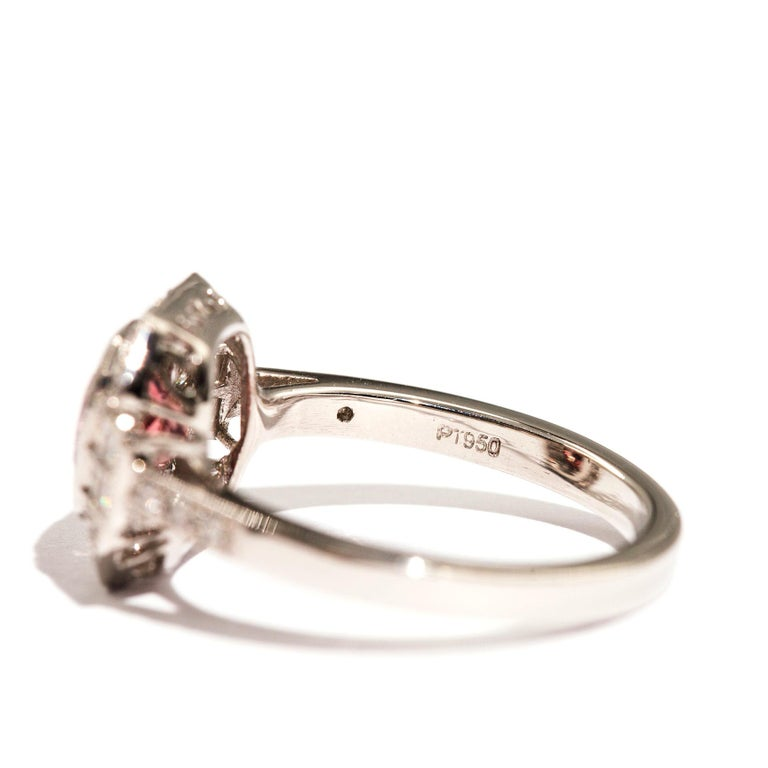 1.47 Carat Cushion Cut Spinel and 0.52 Carat of Diamonds Platinum Ring For Sale 4