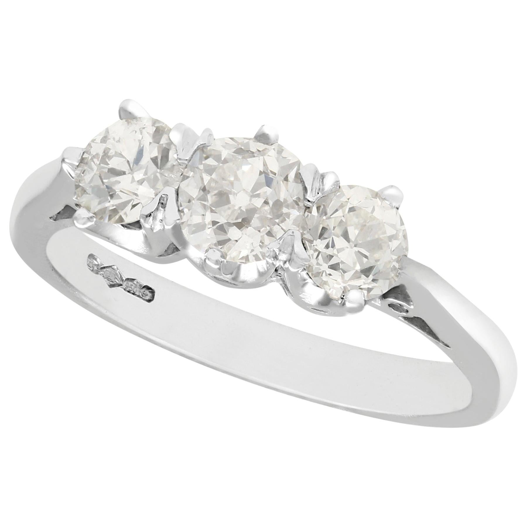 1.47 Carat Diamond Platinum Three-Stone Engagement Ring