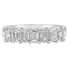 1.47 Carat Emerald Cut Diamond Seven-Stone Wedding Band