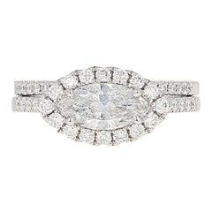 1.47 Carat Marquise Diamond Halo Ring and Wedding Band, 14 Karat Gold GIA