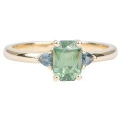 1.47 Carat Montana Sapphire Trillion Sides 14 Karat Yellow Gold Ring AD1749-27