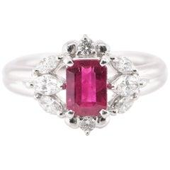 1.47 Carat Natural Ruby and Diamond Ring Set in Platinum
