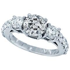 GIA Certified 1.22 Carat Older Cut Diamond in Modern Platinum Engagement Ring