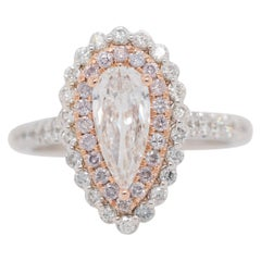 1.47 Carat Pear Diamond Double Halo Engagement Ring with Natural Pink Diamonds