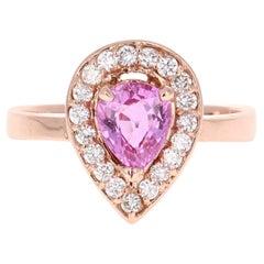 1.47 Carat Pink Sapphire Diamond 14 Karat Rose Gold Engagement Ring