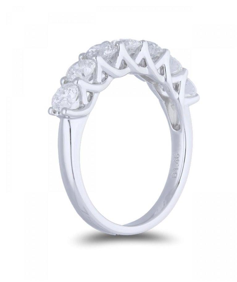 Art Nouveau 1.47 Carat Round Diamond Half Eternity Ring 14 Karat Gold Diamond Band Ring For Sale