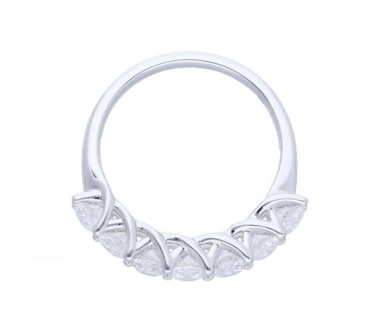 Round Cut 1.47 Carat Round Diamond Half Eternity Ring 14 Karat Gold Diamond Band Ring For Sale