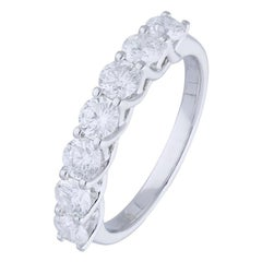 1.47 Carat Round Diamond Half Eternity Ring 14 Karat Gold Diamond Band Ring