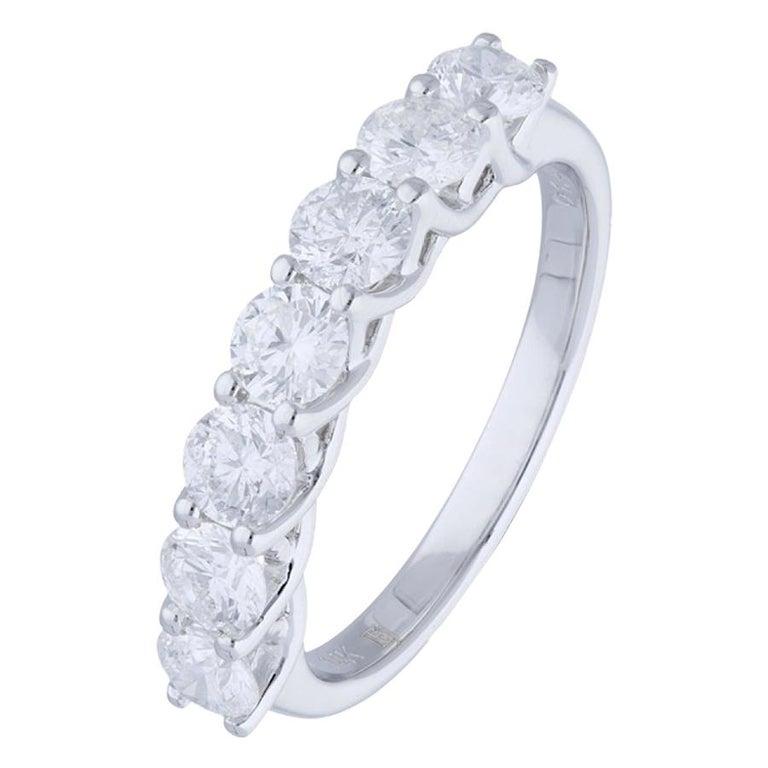 1.47 Carat Round Diamond Half Eternity Ring 14 Karat Gold Diamond Band Ring For Sale