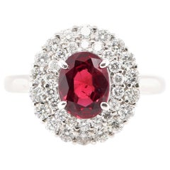 1.47 Carat Ruby and Diamond Halo Ring Set in Platinum