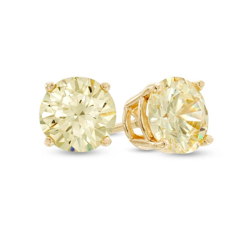 1 47 Carat Total Fancy Yellow Diamond Stud Earrings In 18 Karat Gold