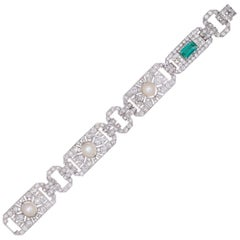 GIA Cert 14.70 Carat Emerald, Diamond, and Pearl Edwardian Platinum Bracelet