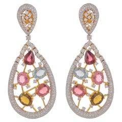 14.70 Carat Multi-Tourmaline Diamond 18 Karat Yellow Gold Earrings