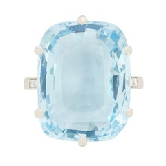 14.71 Carat Cushion Cut Aquamarine Ring with Set Shoulders, circa 1980s