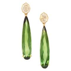 14.71 Carats Diamond and Tourmaline Earrings, Detachable Drop, 21 Karat YG