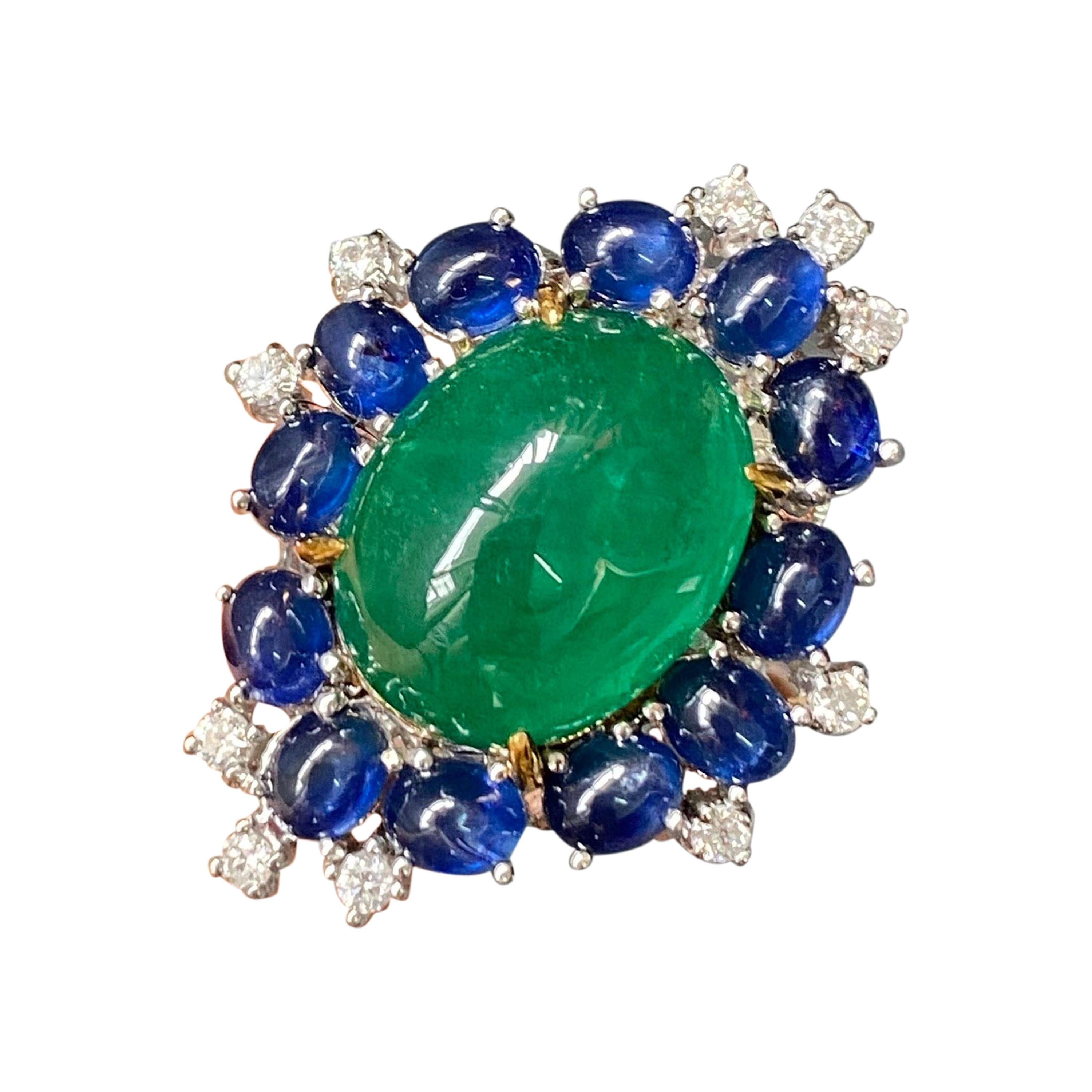14.73 Carat Cabochon Emerald and Sapphire Cocktail Ring