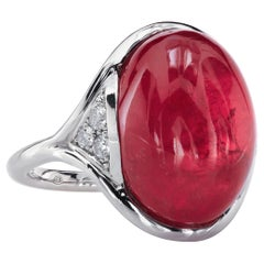 14.73 Carat Gem Rhodonite Cabochon Right-Hand Platinum Ring by Leon Mege