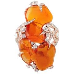 14.73 Carat Mexican Fire Opal 18 Karat Gold Diamond Ring