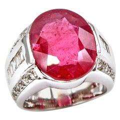 14.73 Carat Oval Ruby Diamond Baguette Brilliant Round 18 Karat Gold Ring