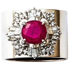 1.476 Carat Ruby and Diamond Platinum Cocktail Ring