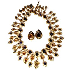 147ct Natural Amethyst Citrine Diamonds Necklace Earrings Magnificent 18 Karat