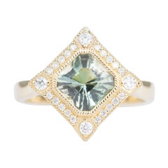 1.47ct Oregon Sunstone Diamond Halo 14K Gold Engagement Ring Bezel Set AD2219