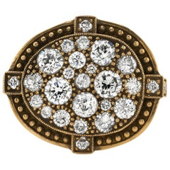 1.47 Carat Mixed Cut Diamonds Set in an Oxidized Yellow Gold Cobblestone Ring