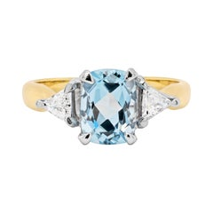 1.48 Carat Aquamarine and Diamond 18ct Gold Engagement Ring