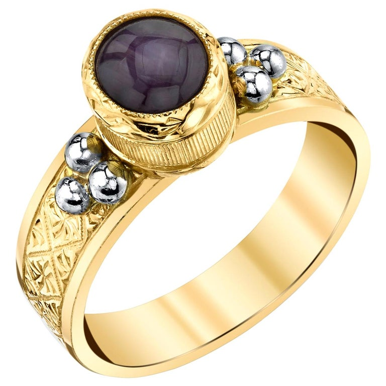 1.48 ct. Bezel Set Star Ruby Cabochon 18k Yellow & White Gold Engraved Band Ring For Sale