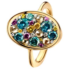 1.48 Carat Blue, Yellow and Purple, Brown White Diamond Pave Ring