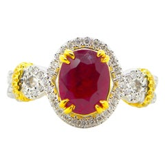 1.48 Carat GIA Certified Unheated Vivid Red Burmese Ruby and Diamond Gold Ring