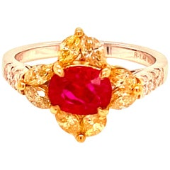 1.48 Carat GRS Certified No Heat Pigeon's Blood Red Burma Ruby and Diamond Ring