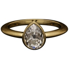 Hancocks 1.48 Carat Old Cut Pear Shape Diamond Solitaire Ring in Satin 18ct Gold