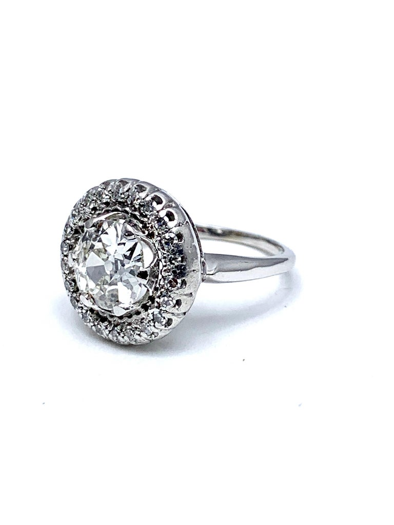 Art Deco 1.48 Carat Old European Cut and Single Cut Diamond White Gold Ring For Sale