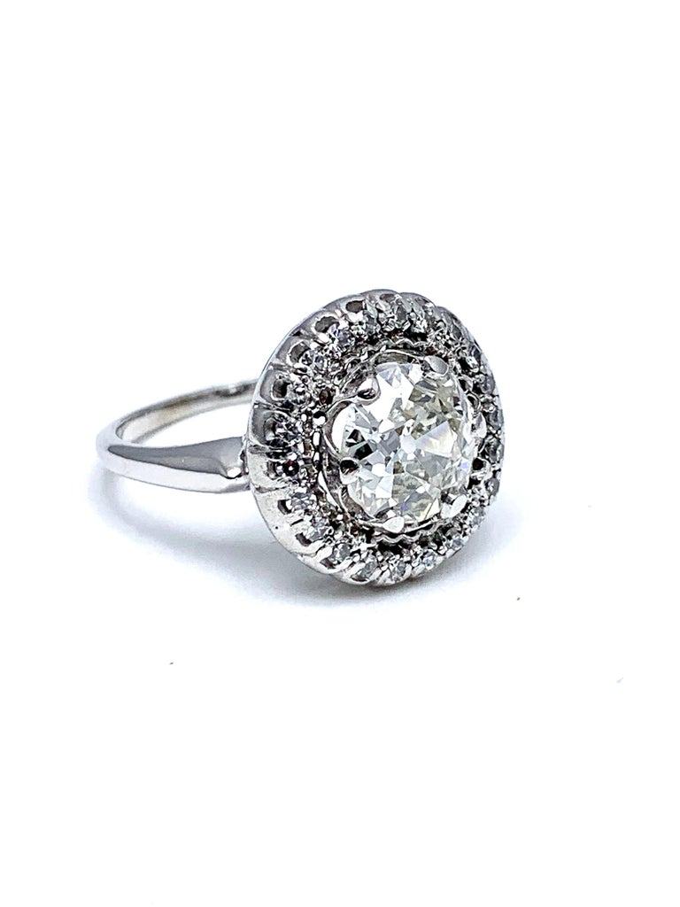 1.48 Carat Old European Cut and Single Cut Diamond White Gold Ring In Good Condition For Sale In Washington, DC