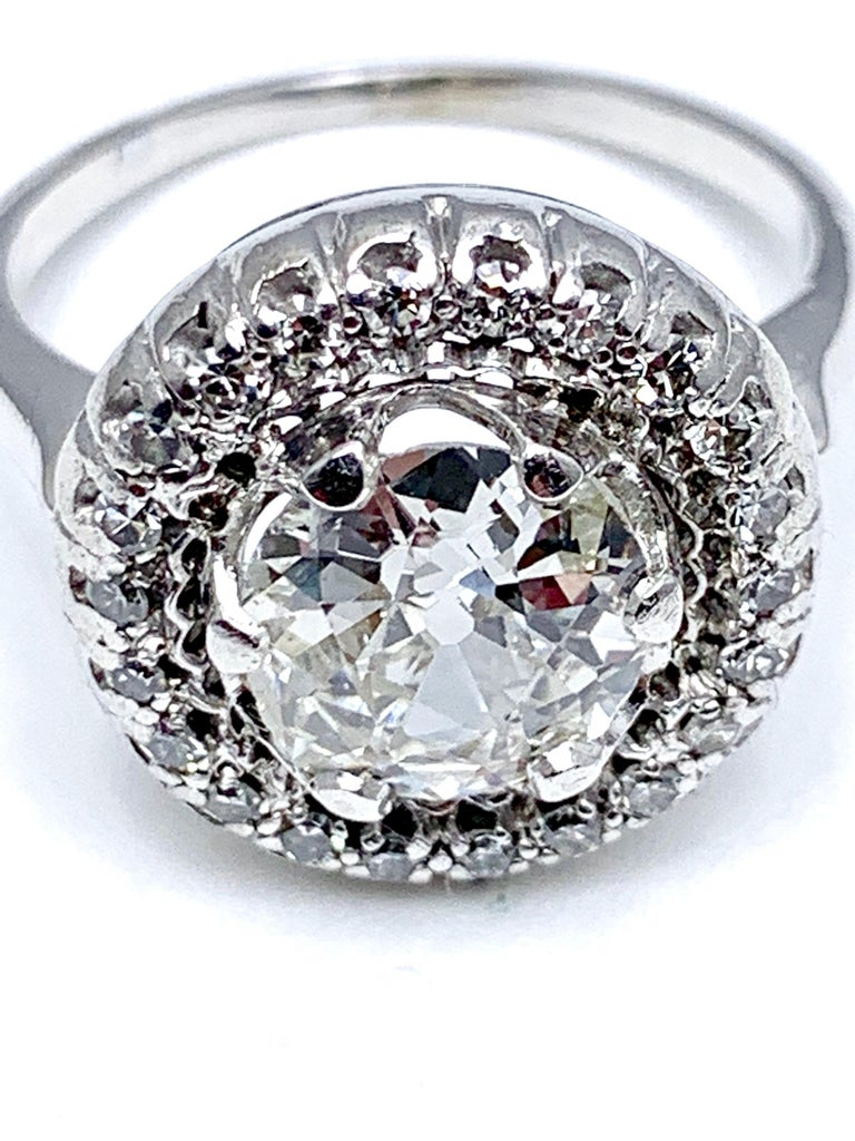 1.48 Carat Old European Cut and Single Cut Diamond White Gold Ring For Sale 2