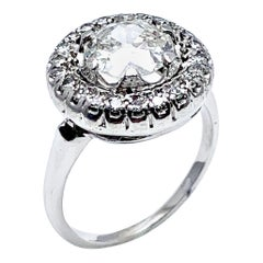 1.48 Carat Old European Cut and Single Cut Diamond White Gold Ring